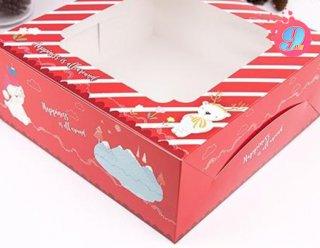 กล่องเค้ก 2 ปอนด์ ลายแฮปปี้เนส เรด