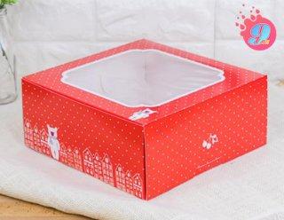 กล่องเค้ก 2 ปอนด์ สีแดงจุดขาว