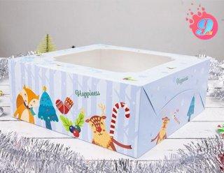 กล่องเค้ก 2 ปอนด์ ลายคริสมาสต์ บลู
