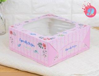 กล่องเค้ก 2 ปอนด์ ลายบลอสซั่ม ชมพู