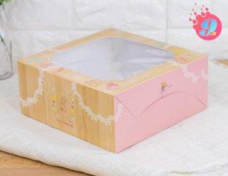 กล่องเค้ก 2 ปอนด์ ลายไม้
