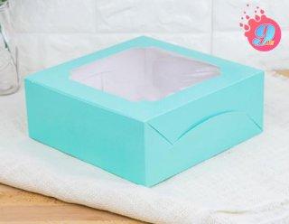 กล่องเค้ก 2 ปอนด์ หน้าต่างกว้าง สีมินต์จุด