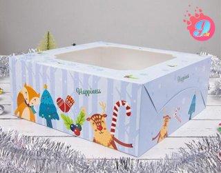 กล่องเค้ก 3 ปอนด์ ลายคริตสมาสต์ บลู