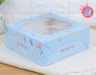 กล่องเค้ก 3 ปอนด์ ลายบลอสซั่ม ฟ้า