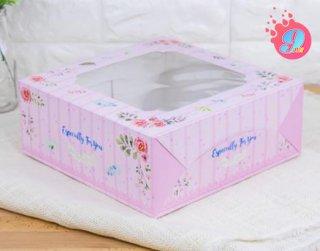 กล่องเค้ก 3 ปอนด์ ลายบลอสซั่ม ชมพู