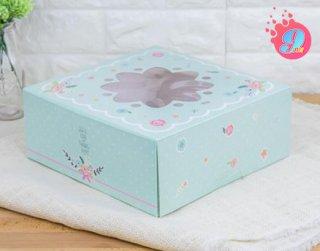 กล่องเค้ก 3 ปอนด์ เขียวมิ้นต์หน้าต่างดอกไม้