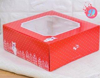 กล่องเค้ก 3 ปอนด์ สีแดงจุดขาว