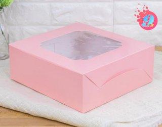 กล่องเค้ก 3 ปอนด์ หน้าต่างกว้าง สีชมพูจุด