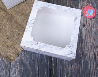 กล่องเค้ก 3 ปอนด์ ลายหินอ่อนขาว
