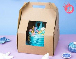กล่องเค้กทรงสูง 24.5x24.5x37.5 ซม. กระดาษคราฟ