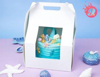 กล่องเค้กทรงสูง 24.5x24.5x37.5 ซม. กระดาษขาว