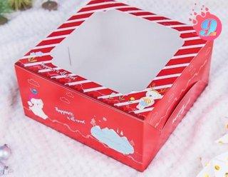 กล่องเค้ก 1 ปอนด์ ลายแฮปปี้เนส เรด