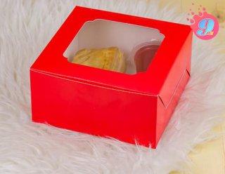 กล่องสแน็คบ็อกซ์หน้าต่างกว้าง สีแดง