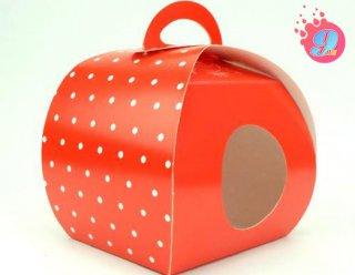 กล่องคุกกี้โดม สีแดงจุด