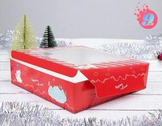กล่องเค้ก 1 ปอนด์ ลายแฮปปี้เนส เรด (ทรงเตี้ย)
