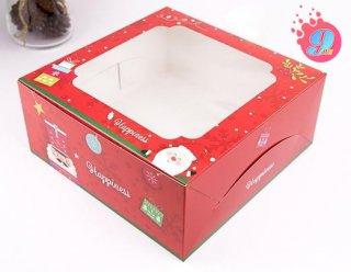 กล่องเค้ก 3 ปอนด์ ลายคริตสมาสต์ เรด