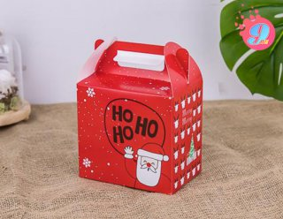 กล่องคุกกี้ 500 กรัม พิมพ์ลายคริสต์มาสแดง