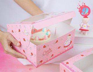 กล่องเค้ก 1 ปอนด์ ลาย Candy Bear & Red Rose