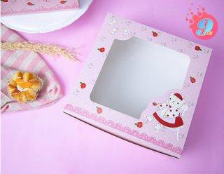กล่องเค้ก 2 ปอนด์ ลาย Candy Bear & Red Rose