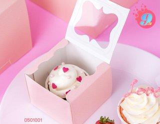 กล่องคัพเค้กเล็ก สีชมพูจุด