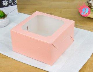 กล่องคัพเค้ก 4 ชิ้น สีชมพูจุด (เฉพาะกล่อง)