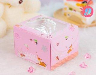 กล่องเค้ก 2 ชิ้นสูง สีชมพูจุดเหลือง (กวาง)