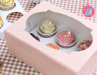 กล่องคัพเค้ก 6 ชิ้น ชมพู (พร้อมฐาน)