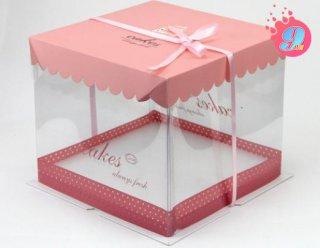 กล่องเค้ก 1 ปอนด์ ชมพูทรงเตี้ย