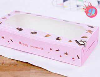 กล่องบราวนี่ 2 ชิ้น ชมพูลายช็อคโกแลต