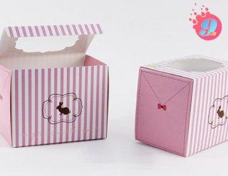 กล่องคัพเค้ก 1 ชิ้น ชมพูทาง (พร้อมฐาน)
