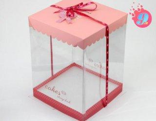 กล่องเค้ก 1 ปอนด์ ชมพูทรงสูง