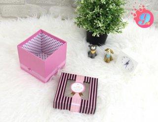 กล่อง Gift ชมพูลายทางน้ำตาล S