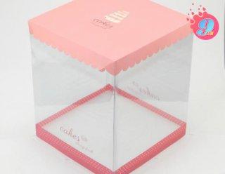 กล่องเค้ก 2 ปอนด์ ชมพูทรงสูง