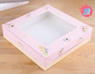 กล่องเค้ก 3 ปอนด์ทรงเตี้ย ชมพูดอกพิโอนี่