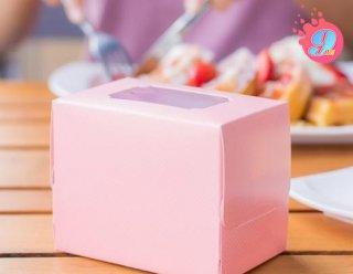 กล่องเค้ก 1 ชิ้น ชมพูจุดทรงสูง