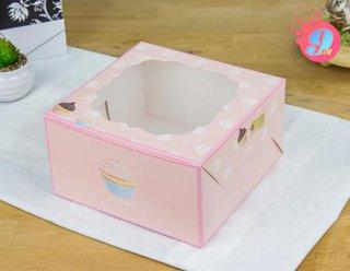 กล่องคัพเค้ก 4 ชิ้น ลายคัพเค้ก (เฉพาะกล่อง)