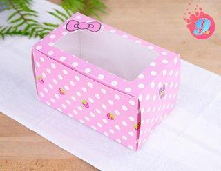 กล่องเค้ก 3-4 ชิ้น ลายโบว์ (เจาะหน้าต่าง)