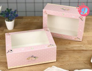 กล่องคัพเค้ก 6 ชิ้น ชมพูดอกพิโอนี่