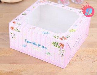 กล่องเค้ก 1 ปอนด์ ลายบลอสซั่ม ชมพู (10 ใบ)