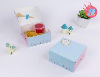 กล่องสแน็คเล็ก สีฟ้าเชอรี่ แพ็ค 100 ใบ