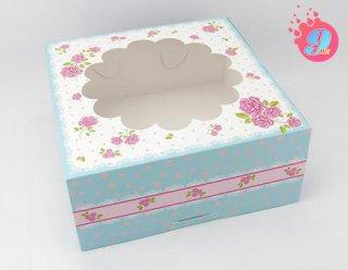 กล่องเค้ก 2 ปอนด์ หน้าต่างดอกกุหลาบ