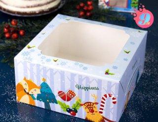 กล่องเค้ก 1 ปอนด์ ลายคริสต์มาส บลู