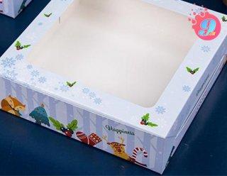 กล่องเค้ก 1 ปอนด์ ลายคริสต์มาส บลู (ทรงเตี้ย)