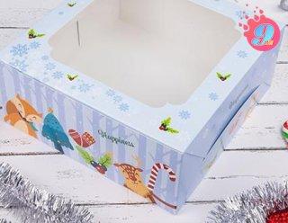 กล่องเค้ก 3 ปอนด์ ลายคริสต์มาส บลู