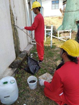 งานซ่อมน้ำรั่วซึม PU Foam Injection