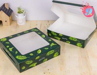กล่องเค้ก 3 ปอนด์ ทรงเตี้ย ลายทรอปิคัล