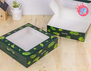 กล่องเค้ก 2 ปอนด์ ทรงเตี้ย ลายทรอปิคัล