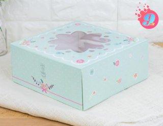 กล่องเค้ก 2 ปอนด์ เขียวมิ้นต์หน้าต่างดอกไม้