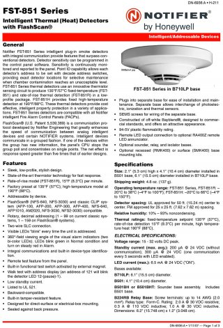 Intelligent Thermal (Heat) Detector FST-851 Series