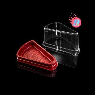 กล่องเค้กสามเหลี่ยมสีแดง E-61 ฝาสูง